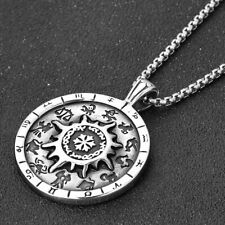 Mens Vintage Zodiac Sign Necklace Pendant Stainless Steel Antique Silver Jewelry
