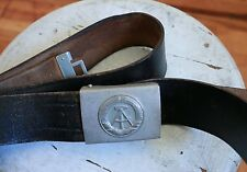 Vintage East Germany military buckle with black leather belt:33-38