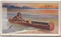 Prehistoric Dugout Log Canoe Paddle Water Boat Craft  85+ Y/O Trade Ad Card