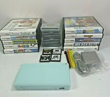 Nintendo DS Lite Light Blue Handheld Console Bundle With 20 Games Charger Stylus