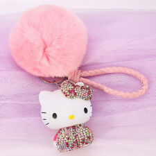 Hello Kitty Key Chain Bling Crystal Pink Soft Fluffy Ball Strap Ring Girl Gift
