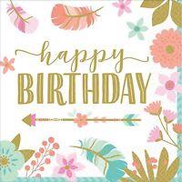 16 HAPPY BIRTHDAY BOHO TRIBAL BEVERAGE NAPKINS WILD ONE PARTY TABLE DECORATION