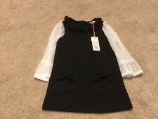 River Island Mini Baby Girls Black White Lacy Sleeve Tunic Dress Age 9-12 Months