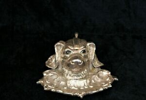 Vintage Novelty Figural Silver Plate Spaniel Dog Inkwell & Pen Tray Ornament