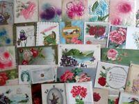 ANTIQUE FLOWER POSTCARDS 30 Victorian Greetings Birthday Embossed Vintage Lot