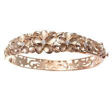 rosa oro rosa argento 925 HAWAIANO STRAVAGANTI Plumeria Fiore Maile foglia