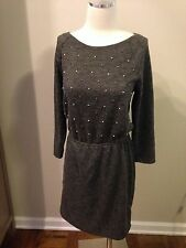 Ann Tayor Loft Gray Blouson Pearl Rhinestone Sweater Dress XS Excellent