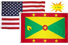 2x3 2'x3' Wholesale Set (2 Pack) USA American & Grenada Country Flag Banner