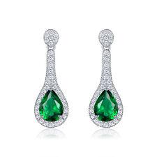HUCHE Green Sapphire Pear Emerald Waterdrop Dangle Silver Women Wedding Earrings