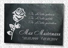 Gedenkplatte Grabstein Gedenktafel Wunsch Gravur in Schiefer graviert Motiv Rose