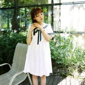 Womens Lady Sailor Collar Bowknot Dress Seaman Style Tunic Top Party Lolita Cute