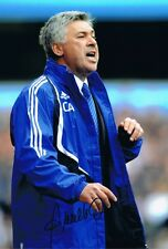 Signed Carlo Ancelotti Chelsea Autograph Photo PSG Real Madrid Milan
