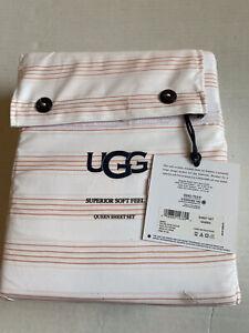 UGG Rose Cloud Gwen SUPERIOR SOFT FEEL Stripes QUEEN 4 Piece Sheet Set NWT
