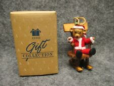 Avon Gift Collection Log Cabin Cutie Teddy Bear Christmas Ornament NEW IN BOX
