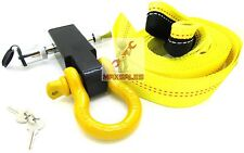 """Solid Shank SHACKLE D-Ring Receiver Hitch W/ 5/8"""" Hitch Pin & 2"""" x 20ft Strap"""