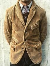 Men Brown Corduroy Suit Jacket Leisure Dinner Party Prom Casual Hunting Suit