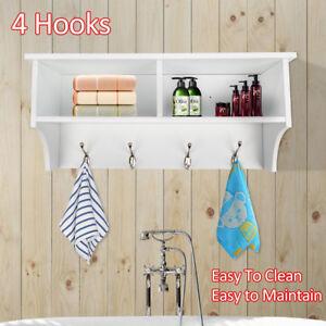 Hot UK White 4 Hooks Hallway Tidy Wall Coat Rack Bag Hanger Hall Storage Shelf