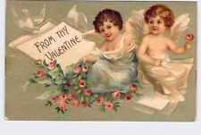 ANTIQUE VINTAGE VALENTINE'S DAY POSTCARD CUPID CHERUBS FAIRIES WITH DOVES
