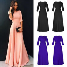 Womens Long Chiffon 3/4 Sleeve Evening Formal Party Prom Ball Gown Maxi Dress AU