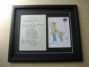 THE BEATLES John Lennon BEAUTIFUL BOY Hand Written Framed Lyrics PRESENTATION