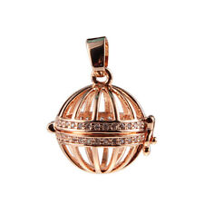 Gold/Silver Plated Hollow Locket Ball Crystal Pendant DIY Oil Diffuser Necklace