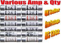domestic household fuses plug mains cartridge 30mm 1A 2A 3A 5A 7A 10A 13A BS1362