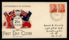1950 AUSTRALIA FDC KGVI WIDE WORLD BRAND CACHET