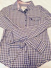 NWT Women's Abercrombie & Fitch Blue/White/Pink Check button down Shirt, XS
