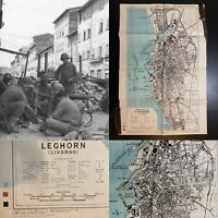 Rare WWII US Infantry Division LEGHORN ITALY Combat Map 1944 World War Relic