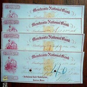 1866  Merchants National Bank, Burlington VT - 4 large Checks, Superb Vignettes!