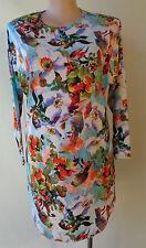 New Rosey Fashion dress bird floral digital print dress long sleeve size 14 NWT