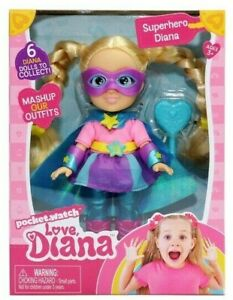 "LOVE DIANA Mashups SUPERHERO 6"" Doll & Brush PocketWatch MASK Cape READ!!"