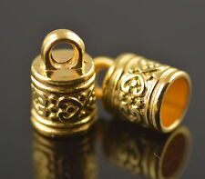 5pcs Golden Plated Croving Leather Cord End Caps Shopper Fits 6.5mm Charms