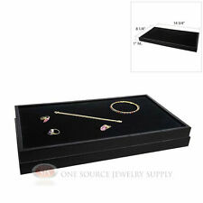 2 Wood Jewelry Sample Trays With Black Padded Velvet Display Pad Inserts
