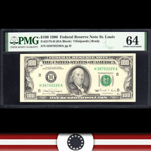1990 $100 ST LOUIS FRN Federal Reserve Note PMG 64 Fr 2173-H  H36702220A