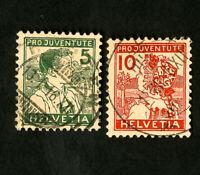 Switzerland Stamps # B2-3 VF Used Catalog Value $116.00