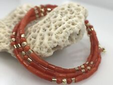 """Necklace for Antique Pendants, 17-18.5"""" Undyed Mediterranean Red Coral 14kt Bead"""