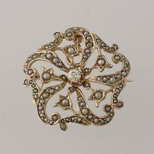 Edwardian Seed Pearl & Diamond Convertible Brooch - 14k Gold Pendant .14ct