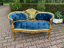 French Louis XVI Style Blue Tufted Velvet Sofa/Settee/Couch/Loveseat