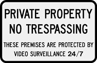 """Private Property No Trespassing 12""""x18"""" 3M Reflective Sign"""