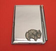 Pomeranian Dog  Motif on Chrome Notebook / Card Holder & Pen Christmas Gift
