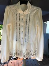 EUC *GORGEOUS* LONG SLEEVE SPARKLY SEQUINNED CREAM TOP/JACKET- Size 10