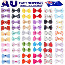 60PCS Pet Small Dog Hair Bows Rubber Bands Puppy Cat Grooming Accessory Set AU