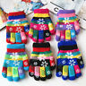 6 Pairs Kids Gloves Winter Warm Stretch Soft Knitted Mittens Girls Boys Xmas