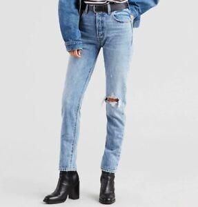 Levi's 501 S Skinny Distressed High Rise Blue Jeans W23 W24 W25 W27 L30 L32