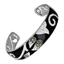 Crystaluxe Black Enamel Cuff Bracelet with Swarovski Crystals in Sterling Silver