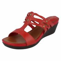 Clarks Sarah Rose Ladies Cherry Red Leather Sandals D Fit (R9A)