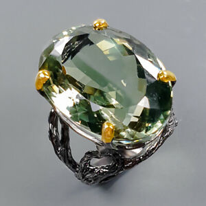 34ct+ One of a kind Green Amethyst Ring Silver 925 Sterling  Size 8.5 /R178340