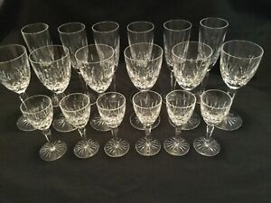 Vintage Set 18 Crystal Cut Glasses - 6 Champagne 6 Wine 6 Liquer - FREE SHIPPING