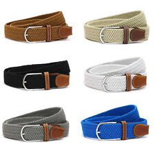 Unisex Womens Ladies Woven Stretch Braided Elastic Leather Buckle Belt Waistband